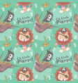 hand drawn cute pirate lion with seamless pattern vector image vector image