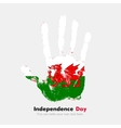 Handprint with the Flag of Wales in grunge style vector image vector image