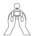 hands holding toy tamagotchi retro vector image