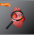 human heart under a magnifying glass with viral vector image vector image
