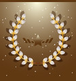 imagination flora laurel wreath on brown vector image vector image