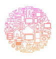 internet of things line icon circle vector image vector image