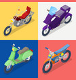 isometric motorcycle set with mountaine bike vector image vector image