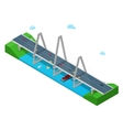 Isometric River Bridge with Ship Boat Highway vector image vector image