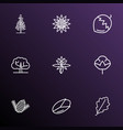 landscape icons line style set with hazel nut vector image