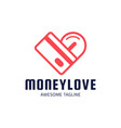 love money logo heart shaped coin and credit card vector image