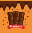 melted chocolate bars drops dessert banner vector image vector image