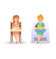 mothers feed babies from bottle vector image