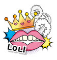 mouth with teeth and crown with stars patch vector image vector image