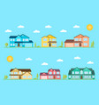 neighborhood with homes on the blue vector image vector image
