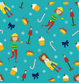 new year sealmless pattern with girls vector image vector image