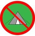 No tent sign in red ring on green circle vector image vector image
