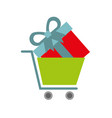 online shopping cart and gift business digital vector image vector image