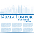 Outline Kuala Lumpur Skyline with Blue Buildings vector image vector image