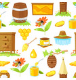 pattern of cartoon elements of beekeeping vector image