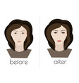 permanent makeup the face of the girl before and vector image vector image