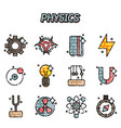 physics flat icons set vector image vector image