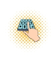 Pin entry icon comics style vector image