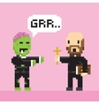 Pixel art game style halloween zombie and priest vector image