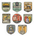 repair tool or construction equipment retro badges vector image