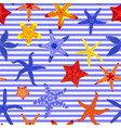 sea stars seamless pattern marine striped vector image vector image