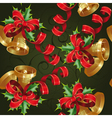 seamless with bells on a green background clipping vector image vector image