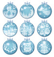 set merry christmas decorations with balls vector image