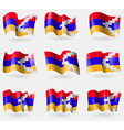 Set of Karabakh Republic flags in the air vector image vector image