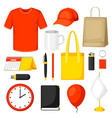 set of promotional gifts and advertising souvenirs vector image vector image