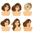 six attractive caucasian women faces vector image vector image