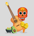 skull with guitar and maracas to celebrate day vector image vector image