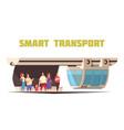 smart transport cartoon composition vector image