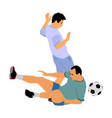 soccer players in duel football players foul vector image