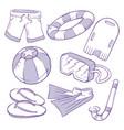 swimming hand drawn icon vector image vector image