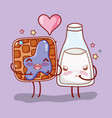 waffle and milk bottle in love kawaii cartoon vector image