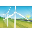 Wind turbine farm in green fields during sunrise vector image vector image