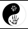 Yin Yang symbol with paw and hand vector image