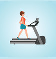 young adult woman running on treadmill vector image vector image