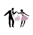 young couple wearing 50s clothes dancing rock and vector image