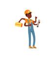 multitasking plumber character african american vector image