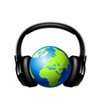 Globe with headphones vector image