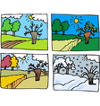 four seasons cartoon vector image
