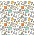 School supplies seamless pattern on white vector image