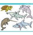 sea life animals set cartoon vector image