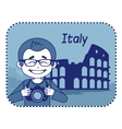Teaser with photographer travels through Italy vector image