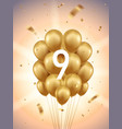 9th year anniversary background vector image vector image