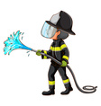 A simple drawing of a fireman holding a hose vector image vector image
