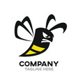 angry bee logo vector image vector image