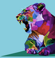 angry colorful lioness on pop art style vector image vector image
