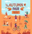 autumn fair people enjoying public park fall vector image vector image